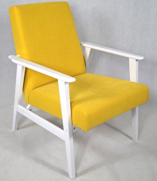 Fotel Klubowy Lata 70 Te Vintage Artdeco Biały Połysk Tapicerka żółta Forgotex Belagio Hommagic Penta 12