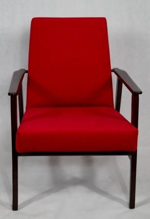 Fotel Klubowy Lata 70-te Vintage ArtDeco Tapicerka Czerwony Casablanca 2309 Konstrukcja Wenge Afrykański