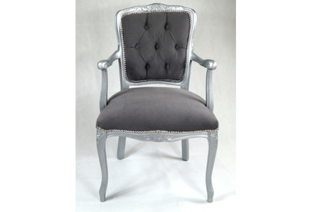 Fotel Krzesło Ludwik Tron Pikowany Szary Srebrny Vintage