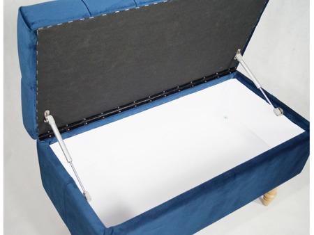 Ławka ze schowkiem Skrzynia z Teleskopem Pikowana Tapicerowana Granatowa French Velvet 670 Nogi wieżyczka naturalne bukowe półmat, Guziki tapicerowane 80cm/40cm/48cm