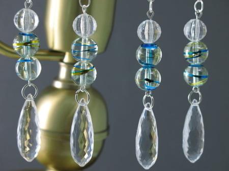 Zawieszka Dekoracja Retro Kryształki Szkło Witrażowe 16cm