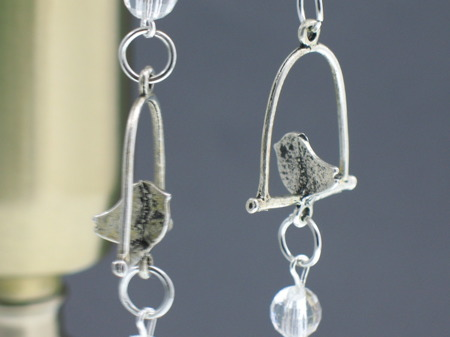 Zawieszka Dekoracja Vintage Kryształki Ptak w Klatce 14cm
